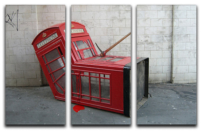 Banksy Death of a Phone Booth 3 Split Panel Canvas Print - Canvas Art Rocks