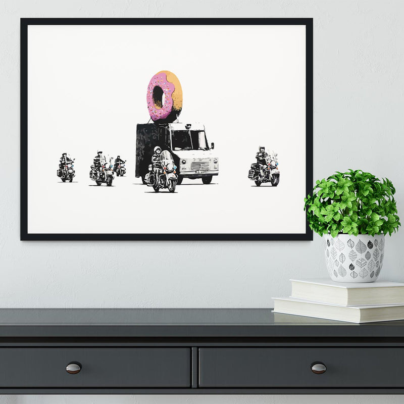Banksy Doughnut Police Escort Framed Print - Canvas Art Rocks - 1
