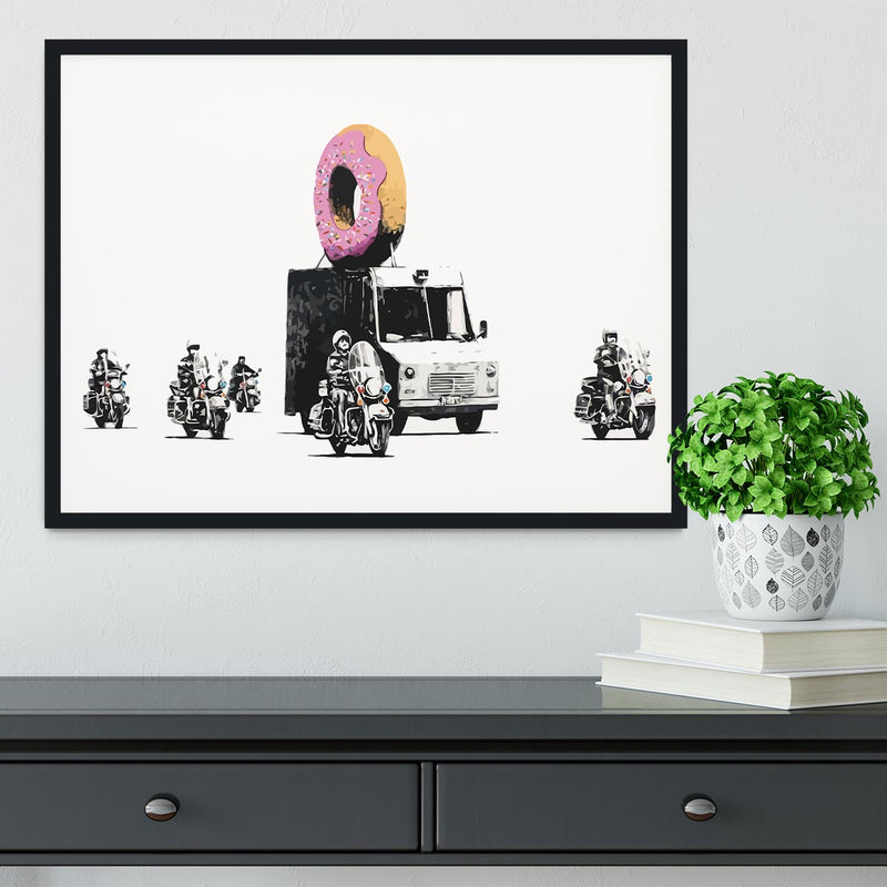 Banksy Doughnut Police Escort Framed Print - Canvas Art Rocks - 2