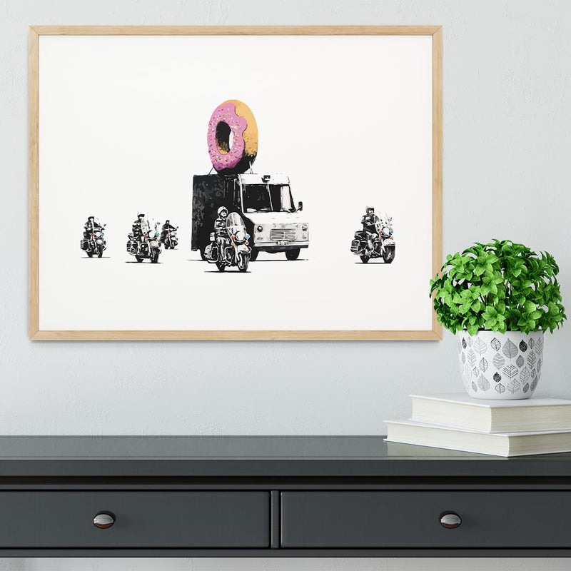 Banksy Doughnut Police Escort Framed Print - Canvas Art Rocks - 3
