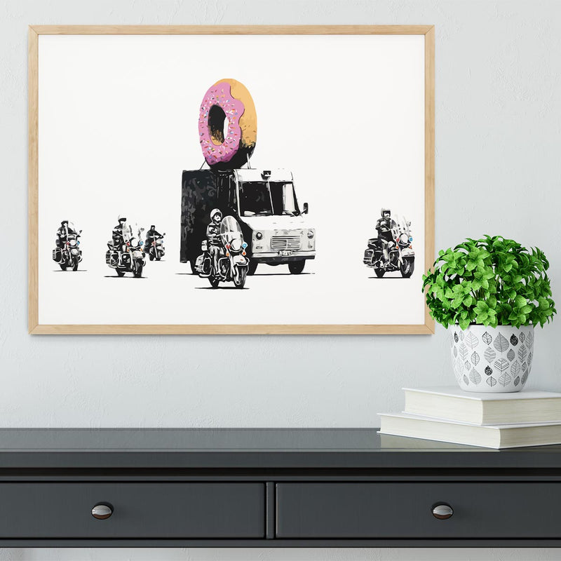 Banksy Doughnut Police Escort Framed Print - Canvas Art Rocks - 4