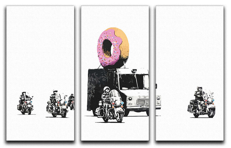 Banksy Doughnut Police Escort 3 Split Panel Canvas Print - Canvas Art Rocks