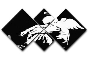 Banksy Fallen Angel 4 Square Multi Panel Canvas  - Canvas Art Rocks - 1