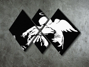 Banksy Fallen Angel 4 Square Multi Panel Canvas - Canvas Art Rocks - 2