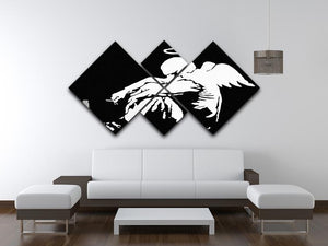Banksy Fallen Angel 4 Square Multi Panel Canvas - Canvas Art Rocks - 3