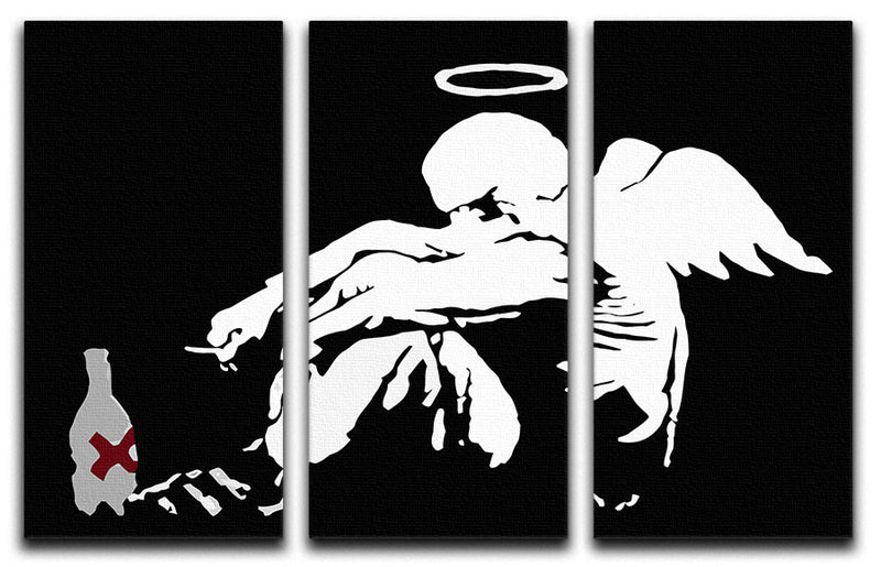 Banksy Fallen Angel 3 Split Canvas Print - Canvas Art Rocks