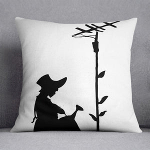 Banksy Flower Aerial Girl Cushion