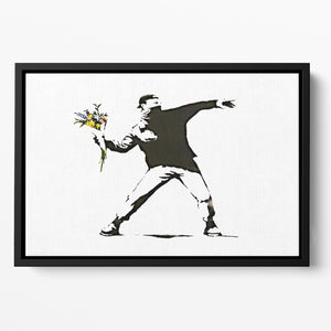 Banksy Flower Thrower Floating Framed Canvas