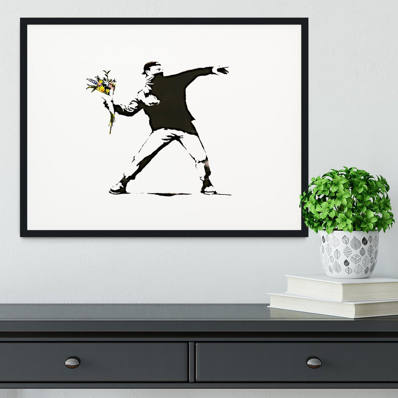 Banksy Flower Thrower Framed Print - Canvas Art Rocks - 1