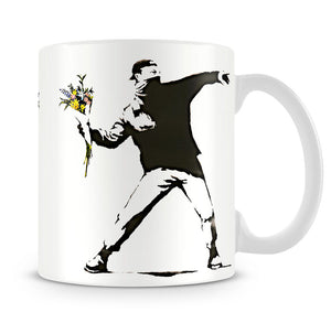 Banksy Flower Thrower Mug - Canvas Art Rocks