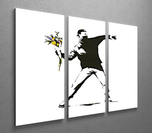Banksy Flower Thrower 3 Split Canvas Print - Canvas Art Rocks