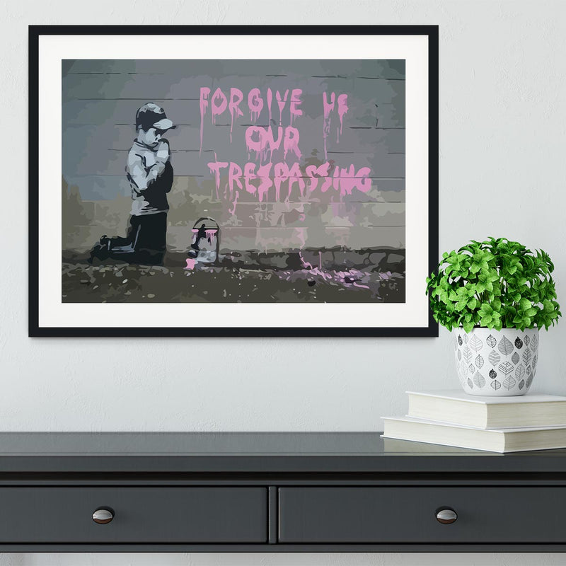 Banksy Forgive Us Framed Print - Canvas Art Rocks - 1
