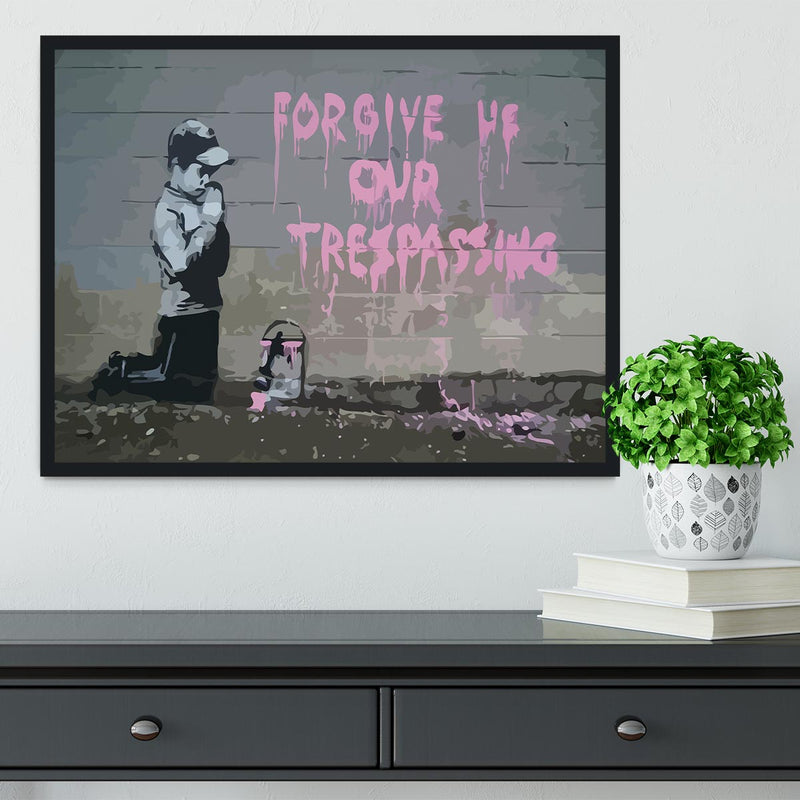 Banksy Forgive Us Framed Print - Canvas Art Rocks - 2