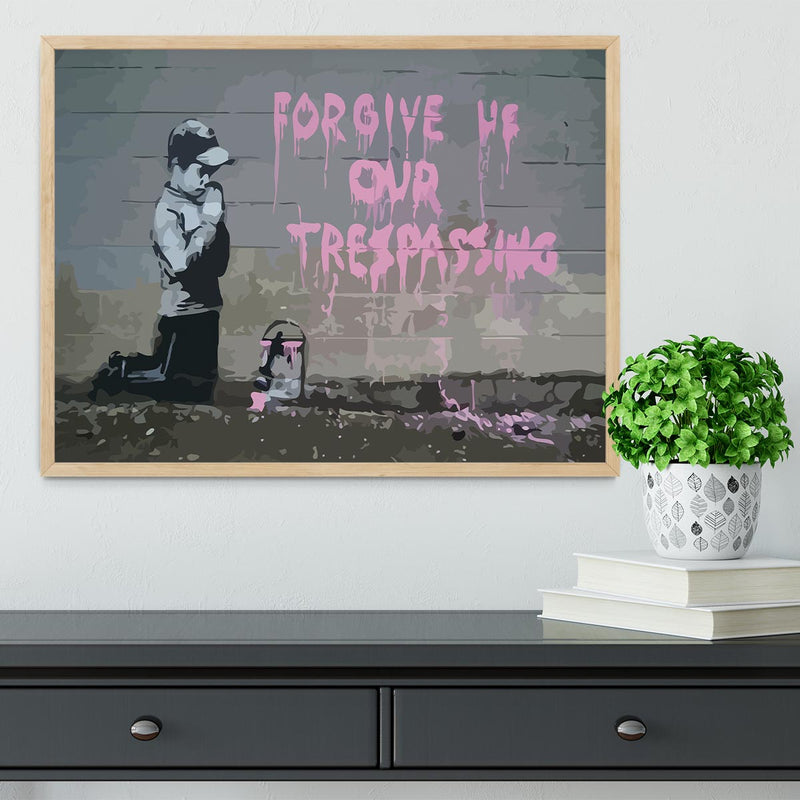 Banksy Forgive Us Framed Print - Canvas Art Rocks - 4