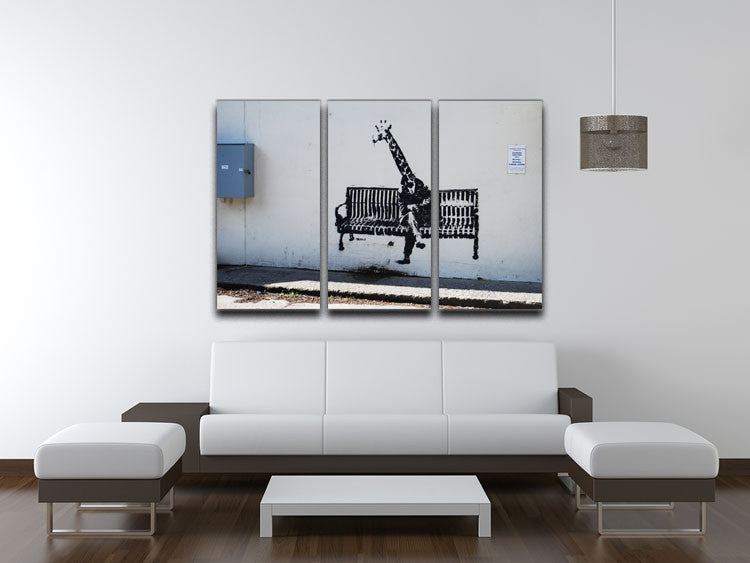 Banksy Giraffe on a Bench 3 Split Canvas Print - Canvas Art Rocks