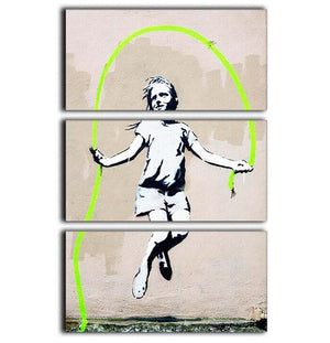 Banksy Girl With Skipping Rope 3 Split Panel Canvas Print - Canvas Art Rocks - 1