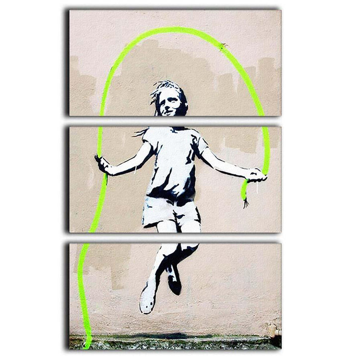 Banksy Girl With Skipping Rope 3 Split Panel Canvas Print
