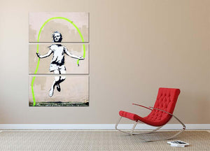 Banksy Girl With Skipping Rope 3 Split Panel Canvas Print - Canvas Art Rocks - 2