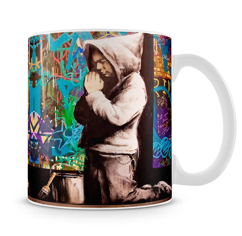 Banksy Graffiti Pray Mug