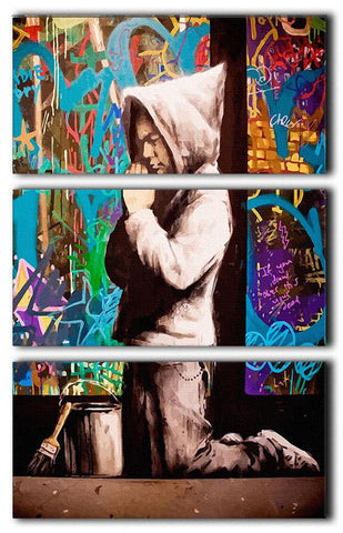 Banksy Graffiti Pray 3 Split Panel Canvas Print
