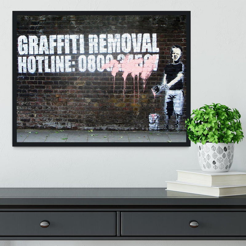 Banksy Graffiti Removal Hotline Framed Print - Canvas Art Rocks - 2