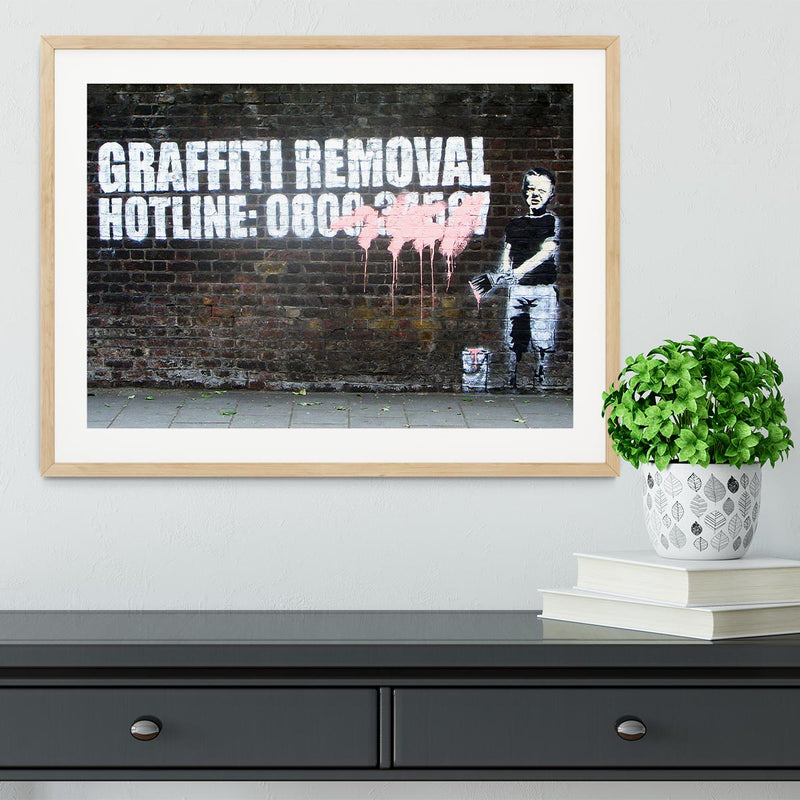 Banksy Graffiti Removal Hotline Framed Print - Canvas Art Rocks - 3