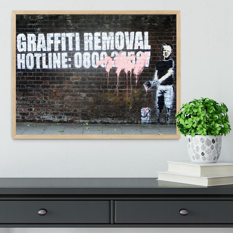 Banksy Graffiti Removal Hotline Framed Print - Canvas Art Rocks - 4
