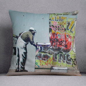 Banksy Graffiti Wallpaper Cushion