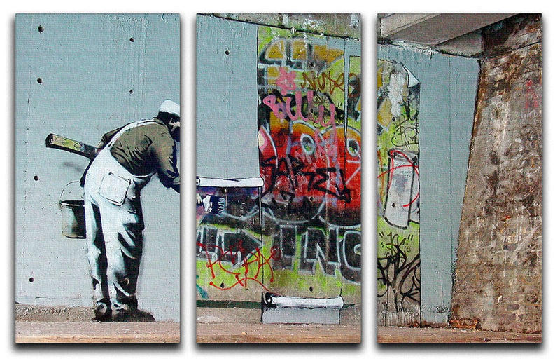 Banksy Graffiti Wallpaper 3 Split Panel Canvas Print - Canvas Art Rocks