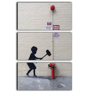 Banksy Hammer Boy 3 Split Panel Canvas Print - Canvas Art Rocks - 1