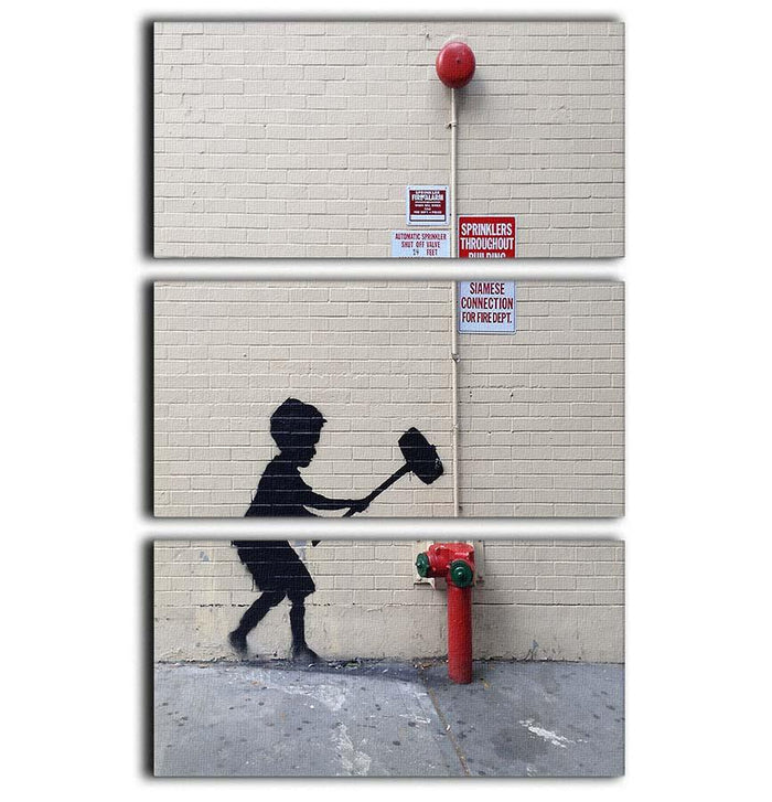 Banksy Hammer Boy 3 Split Panel Canvas Print
