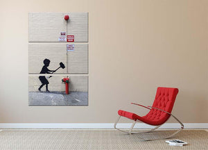Banksy Hammer Boy 3 Split Panel Canvas Print - Canvas Art Rocks - 2