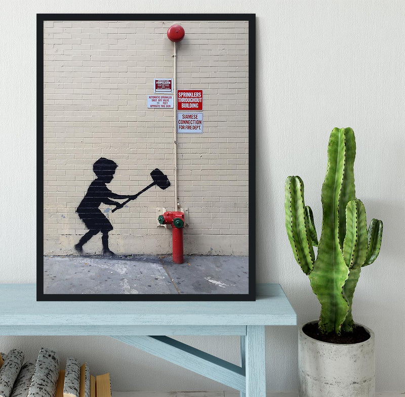 Banksy Hammer Boy Framed Print - Canvas Art Rocks - 2