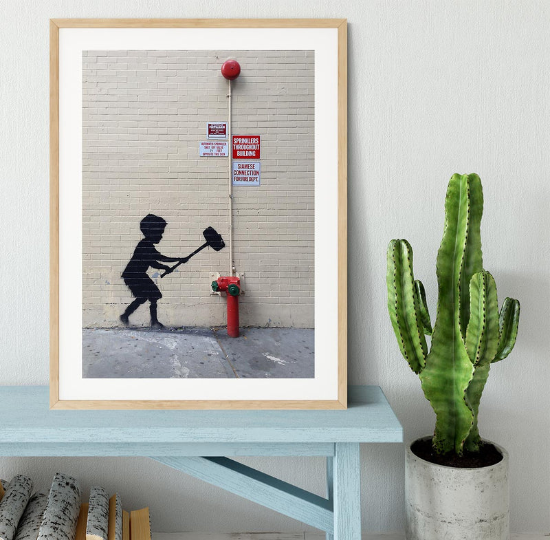 Banksy Hammer Boy Framed Print - Canvas Art Rocks - 3