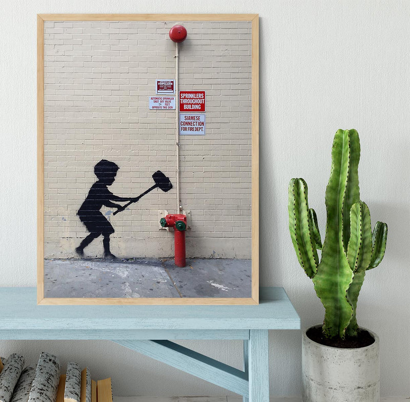 Banksy Hammer Boy Framed Print - Canvas Art Rocks - 4