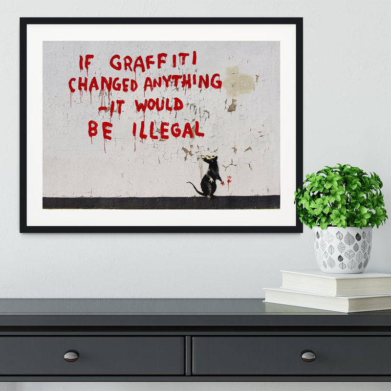 Banksy If Graffiti Changed Anything Framed Print - Canvas Art Rocks - 1
