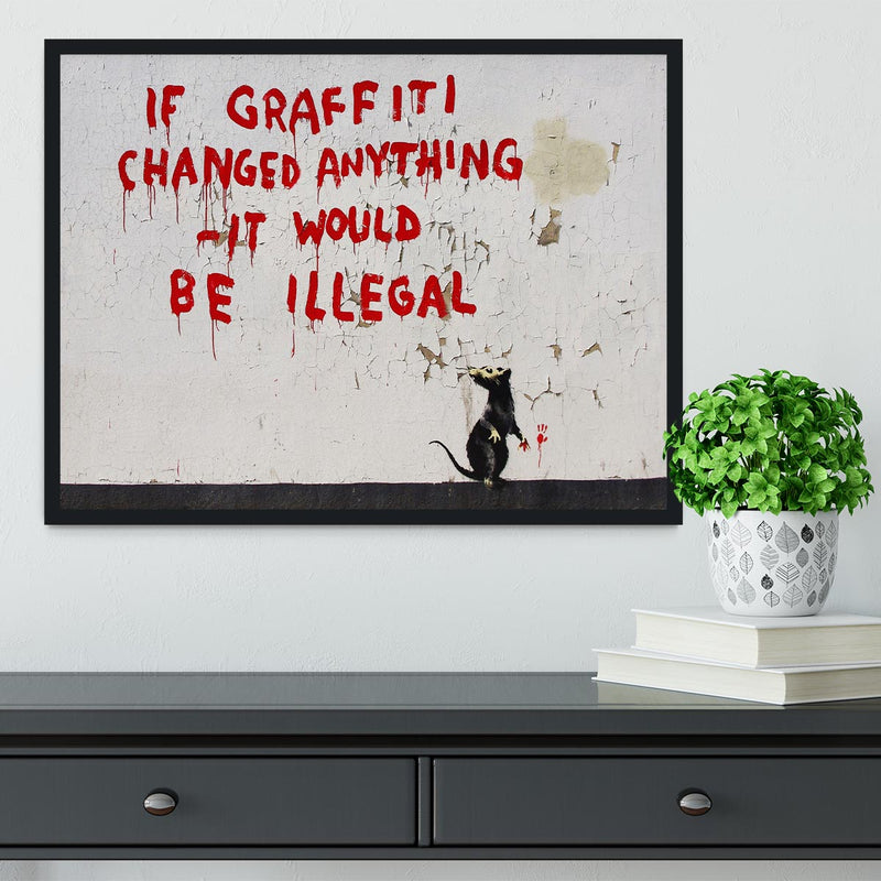 Banksy If Graffiti Changed Anything Framed Print - Canvas Art Rocks - 2