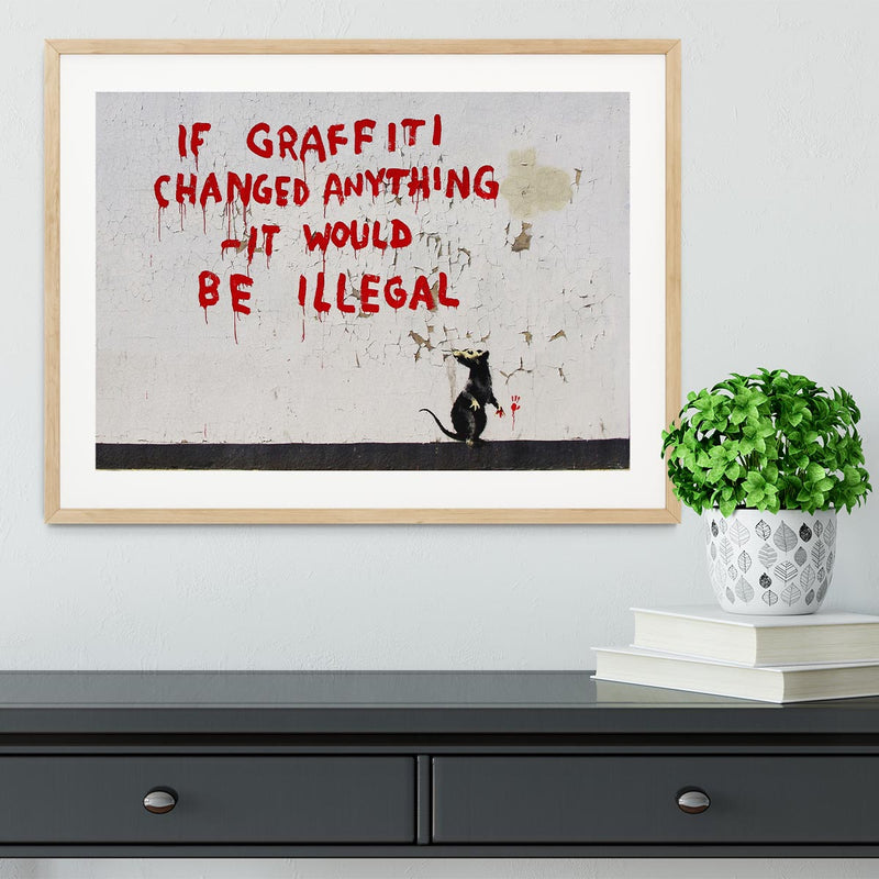 Banksy If Graffiti Changed Anything Framed Print - Canvas Art Rocks - 3