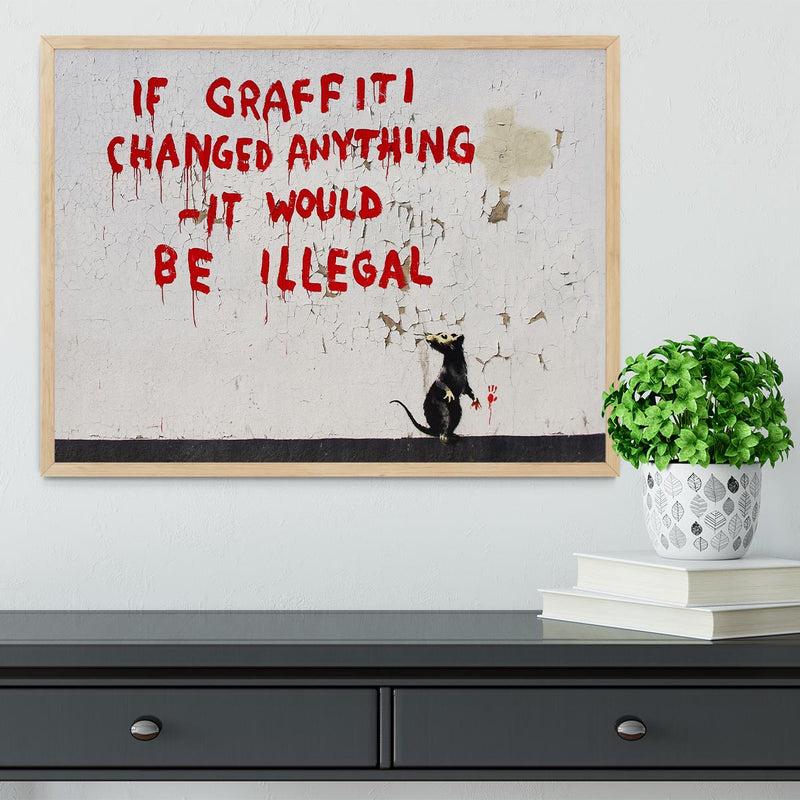 Banksy If Graffiti Changed Anything Framed Print - Canvas Art Rocks - 4