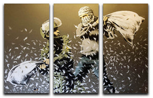 Banksy Israeli & Palestinian Pillow Fight 3 Split Canvas Print - Canvas Art Rocks