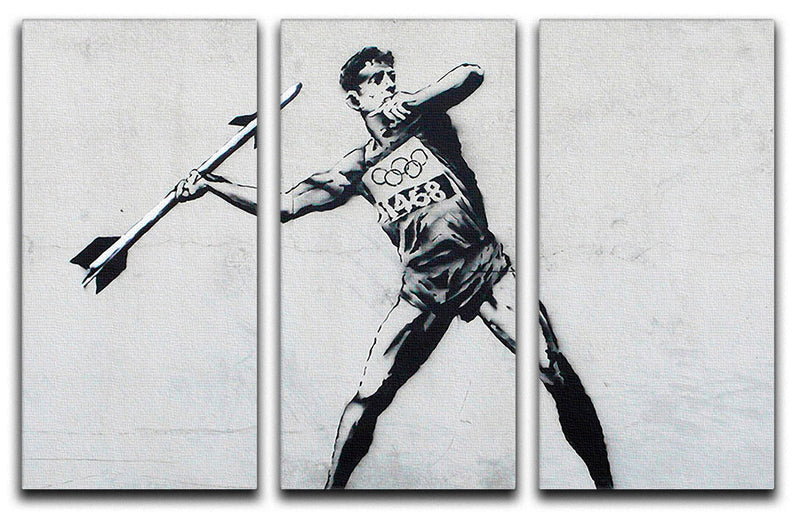 Banksy Javelin Thrower 3 Split Panel Canvas Print - Canvas Art Rocks