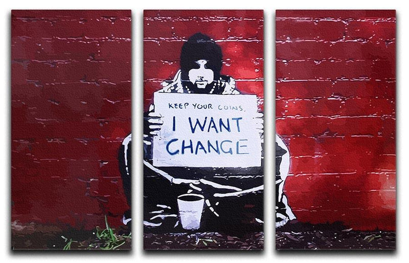 Banksy Keep Your Coins 3 Split Panel Canvas Print - Canvas Art Rocks - 4