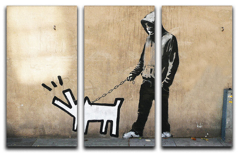 Banksy Keith Haring Dog 3 Split Panel Canvas Print - Canvas Art Rocks