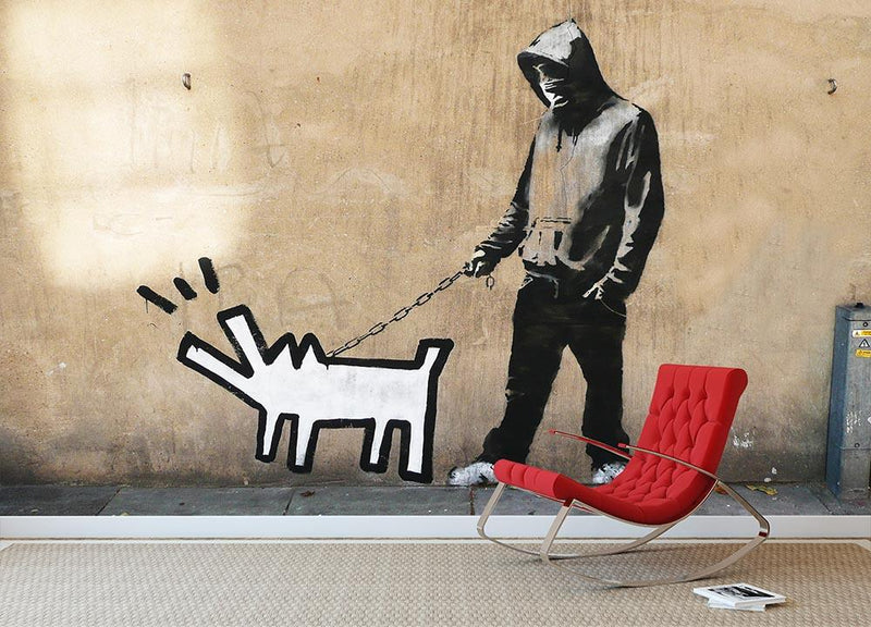 Banksy Keith Haring Dog Wall Mural Wallpaper