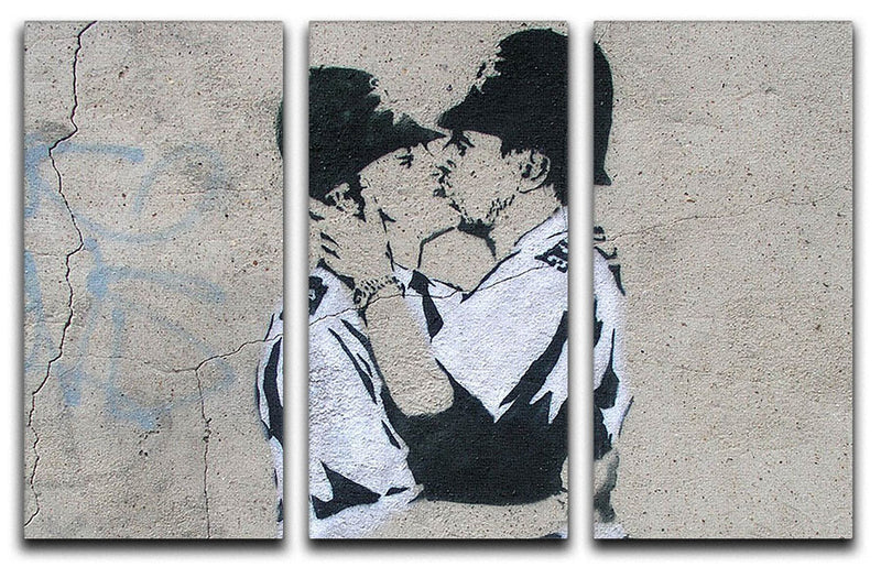 Banksy Kissing Policemen 3 Split Canvas Print - Canvas Art Rocks