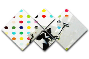 Banksy LSD Damien Hirst 4 Square Multi Panel Canvas  - Canvas Art Rocks - 1