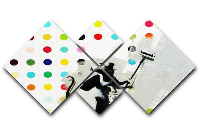 Banksy LSD Damien Hirst 4 Square Multi Panel Canvas
