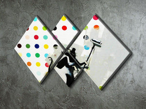 Banksy LSD Damien Hirst 4 Square Multi Panel Canvas - Canvas Art Rocks - 2
