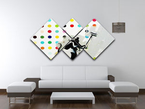 Banksy LSD Damien Hirst 4 Square Multi Panel Canvas - Canvas Art Rocks - 3