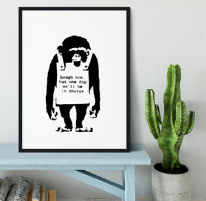 Banksy Laugh Now Monkey Framed Print